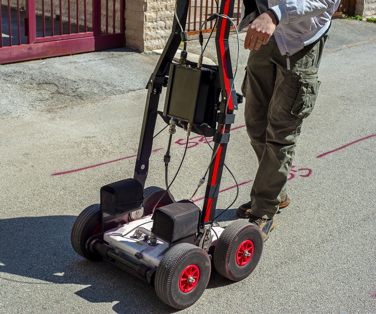 The GPR is a noninvasive method used in geophysics. It is based on the analysis of electromagnetic waves transmitted into the ground reflections.